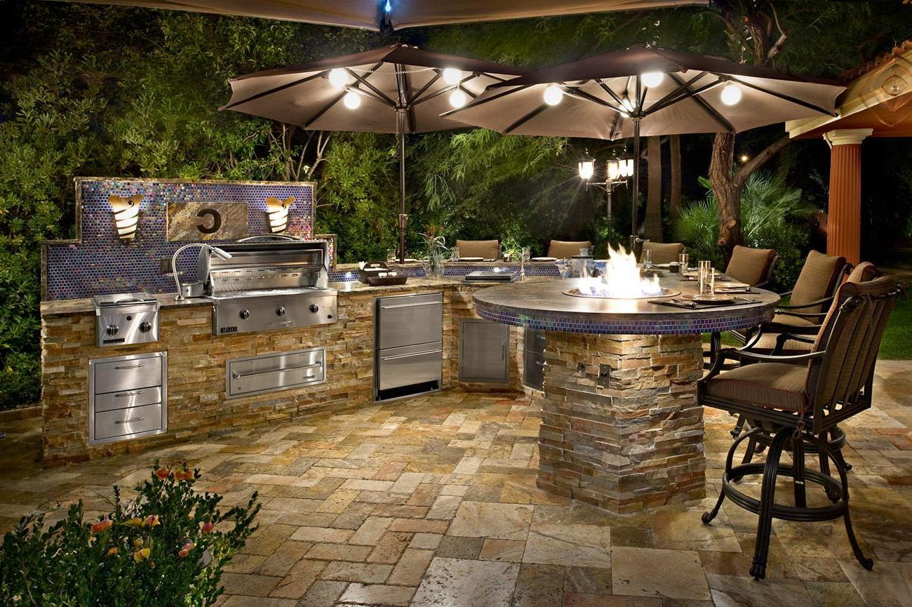 Outdoor Fireplace And Bar And Kitchen